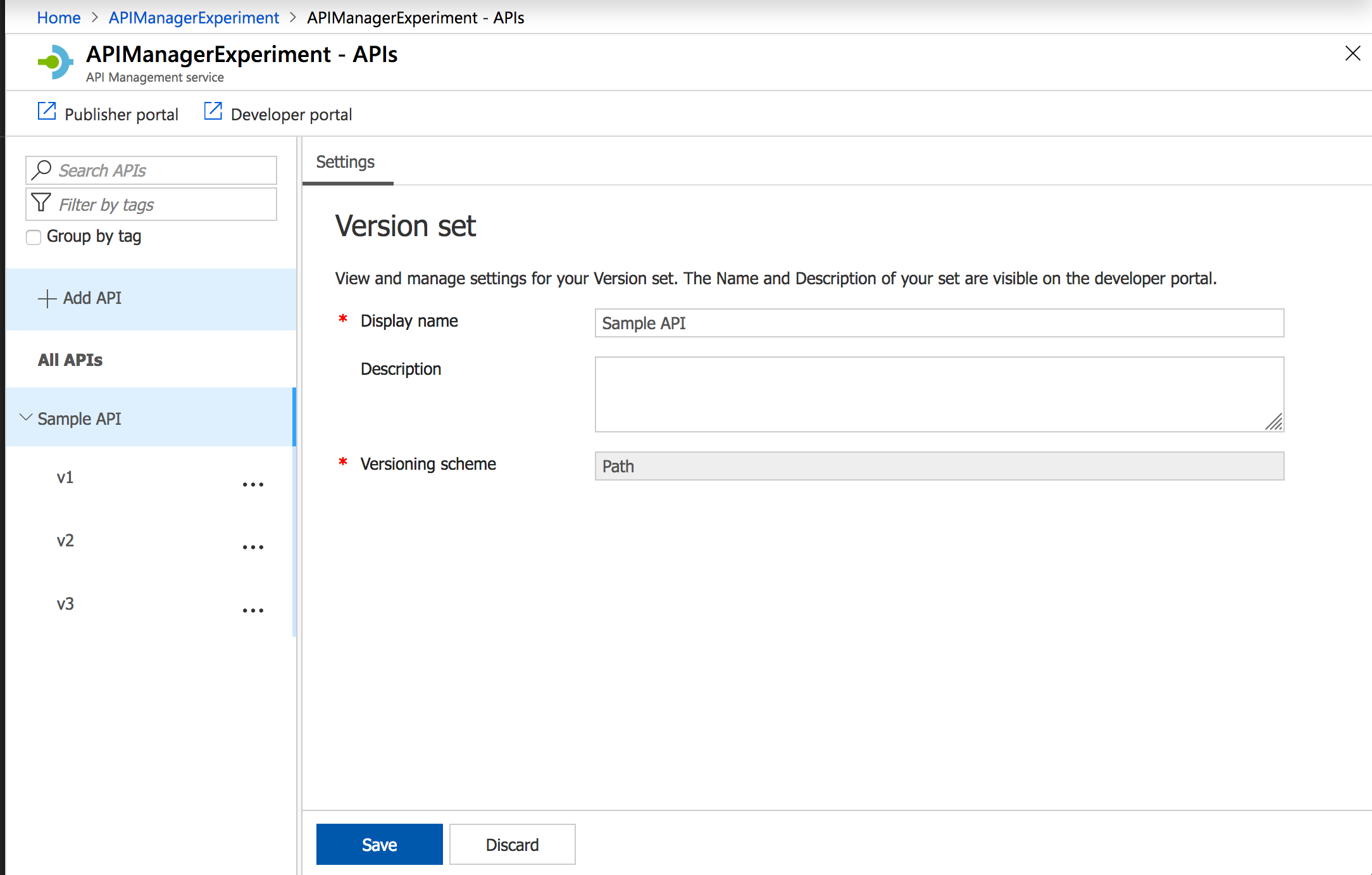API Versioning with Swagger, Azure API Management Services and ASP